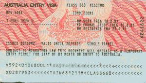 виза в австралию образец
