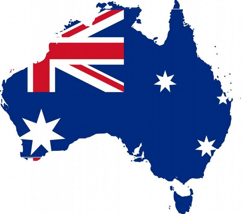 австралия флаг на фоне карты